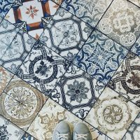 Floor made up of traditional blue tiles from Iran.